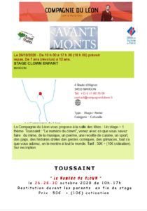 Stages clown avant monts